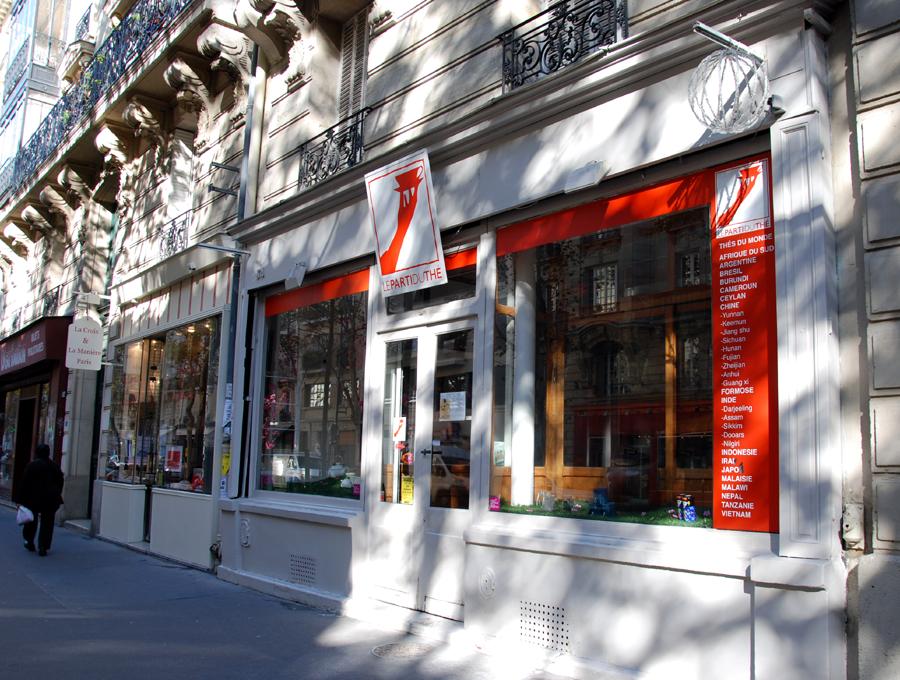 Façade de la boutique Parti du thé, rue Faidherbe à Paris, dans le 11e