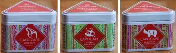 Boîtes Capes and Cape dont le motif est dessiné par des artistes africains.