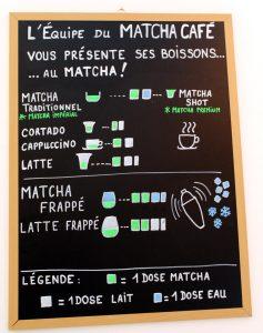 Carte des différents Matcha de l'Umami Matcha Café