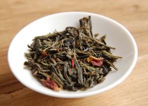 Feuilles de thé du mélange Rouge Baiser, fabrication spéciale Saint-Valentin de chez George Cannon