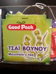 Sachet de Mountain tea distribué dans les hôtels
